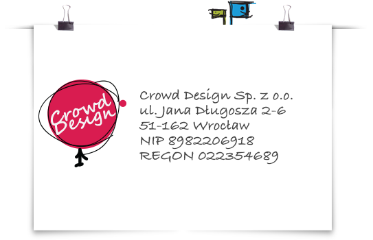 Graficzna wizytówka firmy Crowd Design wraz z danymi firmy
