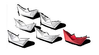 Sześć papierowych łódeczek płynących w trójkącie, pierwsza jest czerwona