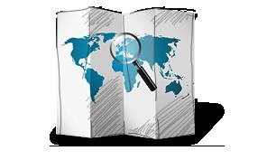 Papierowa mapa świata z lupą