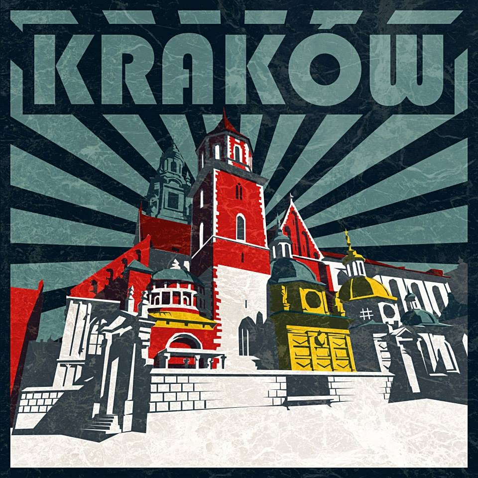 Kraków Plakat Retro Grafika 12945 Portfolio Grafika