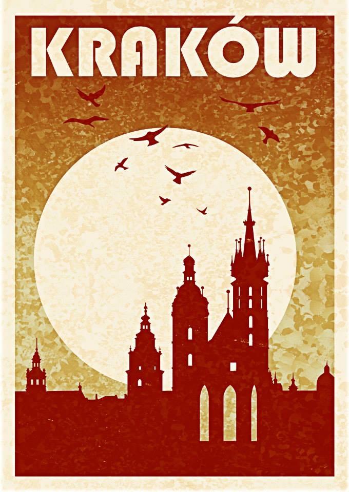 Kraków Plakat Retro Grafika 12946 Portfolio Grafika